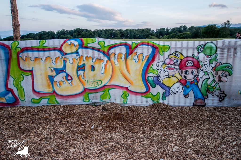 Déco graff spray super mario bros evolution art pour le 70 ème giron 2015 de marchissy fjdn
