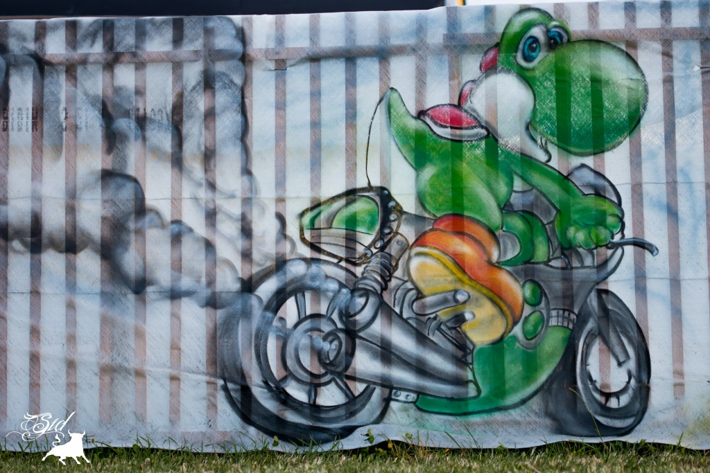 Déco yoshi moto kart graff spray super mario bros evolution art pour le 70 ème giron 2015 de marchissy fjdn